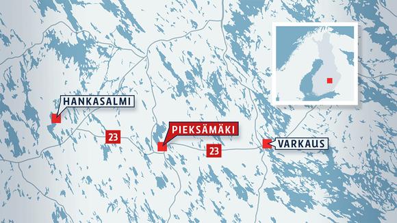Kartta, jossa näkyvät Hankasalmi, Pieksämäki ja Varkaus.