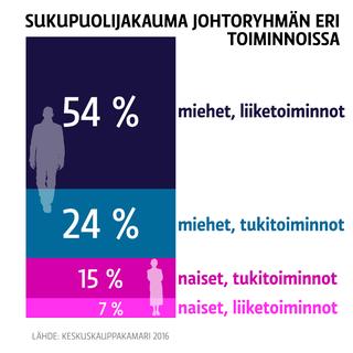 Sukupuolijakauma johtoryhmän eri toiminnoissa.