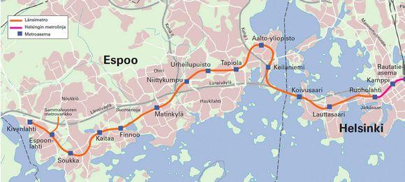 Reittikartta, Länsimetro, asemat, linjakartta