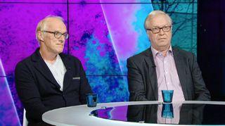 Seppo Koskinen ja Sture Fjäder A-studiossa.