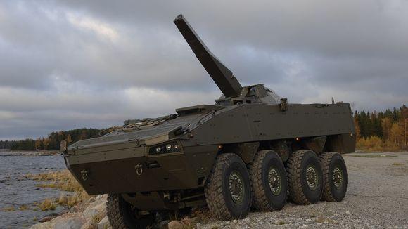 Patria Nemo 120 mm -kranaatinheitinjärjestelmä yhdistettynä Patrian AMV-miehistönkuljetysvaunuun. Sekä kranaatinheittimiä että vaunuja varten on myönnetty vientilupia Lähi-itään.