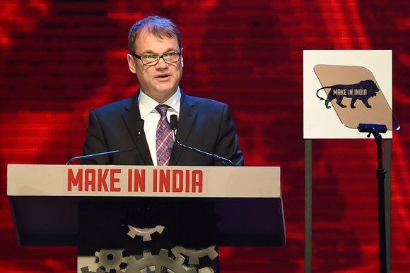 Suomen pääministeri Juha Sipilä Make in India Week -tapahtuman avajaisissa Mumbaissa lauantaina 13. helmikuuta 2016.