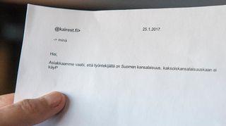 Viestissä lukee: Hei, asiakkaamme vaatii, että työntekijällä on Suomen kansalaisuus, kaksoiskansalaisuuskaan ei käy. P