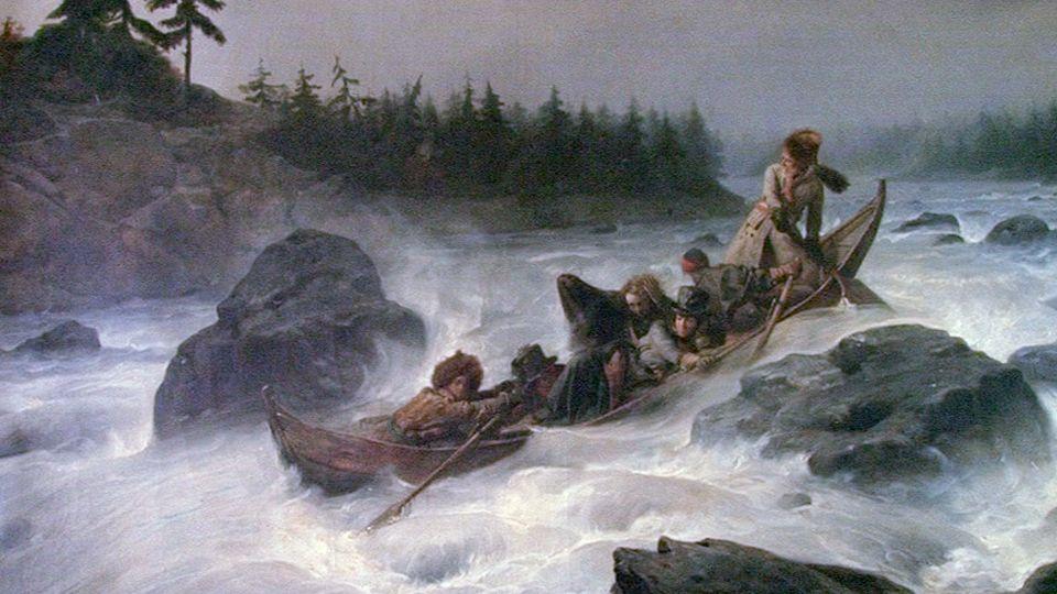 Duke of Orléans Ludvig Phillip, letting down the rapids of Äijänpaikka, in Muonionjoki-river.