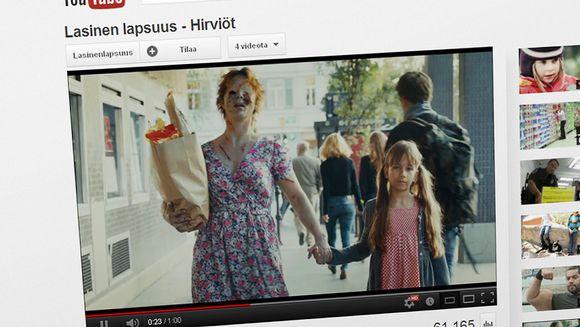 Ruutukaappaus Lasinen lapsuus -videolta.