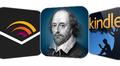 Grafiikka, jossa sovellukset; Audiblen, Shakespeare pro:n sekä Kindlen logot.