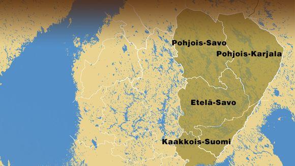 Itä-ja Kaakkois-Suomen hätäkeskusalue.