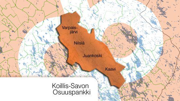 Karttakuva Koillis-Savon osuuspankin alueesta