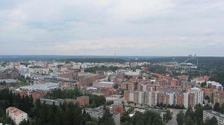 Maisema Lahden kaupungin yli.