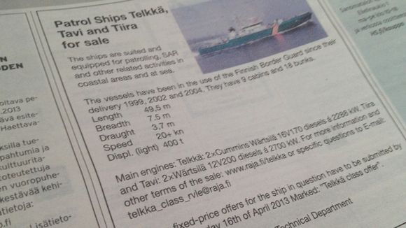 Tarjolla ostajille on keskimääräistä järeämpi vene, sillä pituutta veneellä on liki 50 metriä ja huippunopeudeksi luvataan yli 20 solmua.