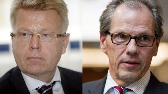 Kuvassa tuleva Elinkeinoelämän keskusliiton toimitusjohtaja Jyri Häkämies (vas.) ja paikalta siirtyvä Mikko Pukkinen.