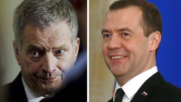 Presidentti Sauli Niinistö ja Venäjän pääministeri Dmitri Medvedev.