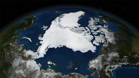 Satelliittikuva Pohjoisesta jäämerestä.