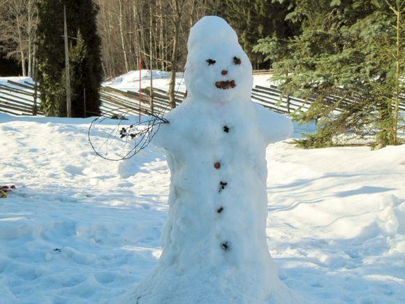 lumiukko pihapiirissä