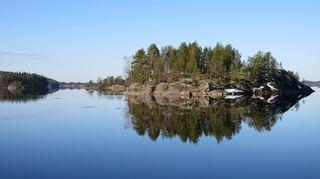 tyyni järvimaisema huhtikuisessa aamussa
