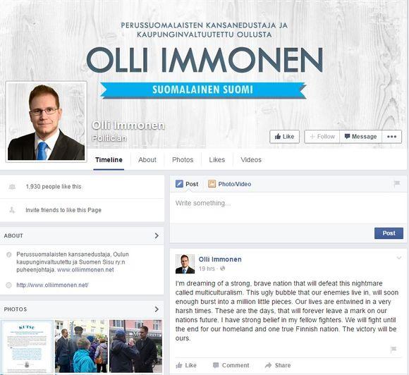 Olli Immonen, Facebook