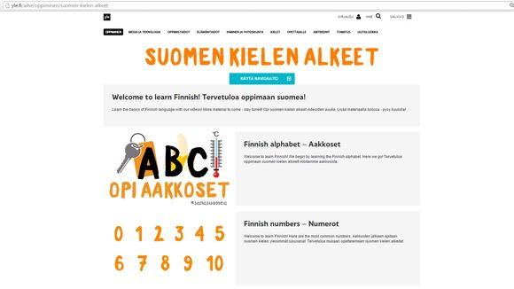 Suomen kielen alkeet -sarja löytyy Yle Oppimisen verkkosivuilta.