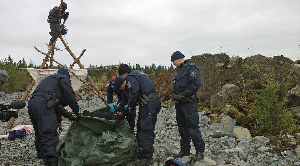 Finnish demonstrators gather to block construction of Russian-funded nuclear power plant