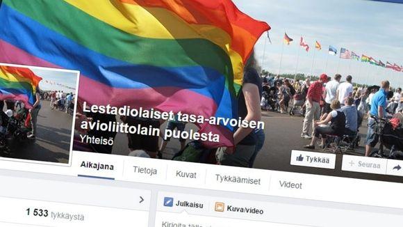Facebookin Lestadiolaiset tasa-arvoisen avioliittolain puolesta-sivusto.