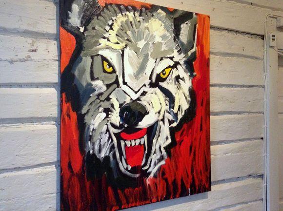 Taiteilija Hannu Lukinin maalaus Isa paha susi.