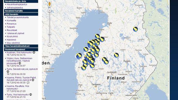 Karttakuva Ursan Taivaanvahti-havaintojärjestelmästä.