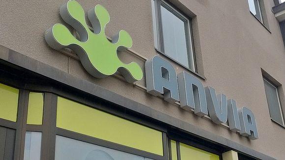 Kuvassa Anvian kyltti Seinäjoen myymälän Seinässä.