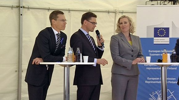 Stubb, Katainen and Urpilainen at public EU event