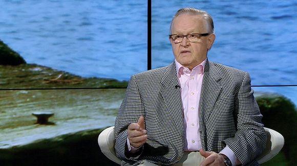 Presidentti Martti Ahtisaari Ylen A-studion vieraana.