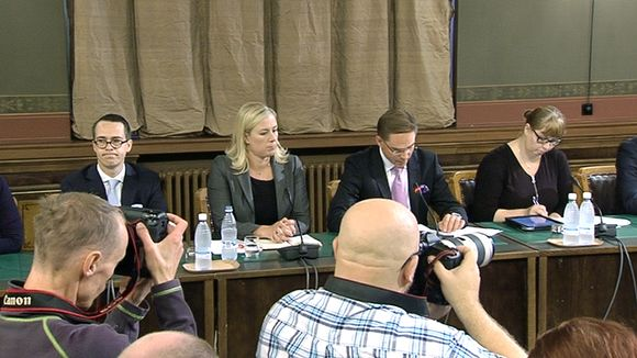 Left to right: Party chairs and ministers Carl Haglund, Jutta Urpilainen and Jyrki Katainen.