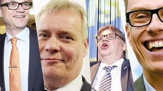 Juha Sipilä (kesk.), Antti Rinne (sd.), Timo Soini (ps.) ja Alexander Stubb (kok.)