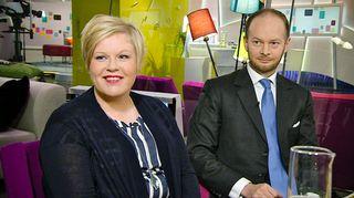 Keskustan varapuheenjohtaja Annika Saarikko ja kansanedustaja Sampo Terho Aamu-tv:n lämpiössä.