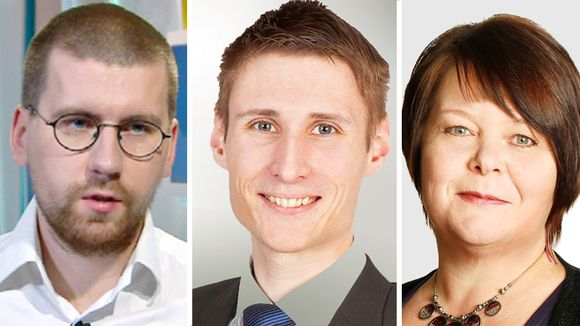 Kuvassa Perussuomalaisten Sebastian, Tynkkynen Aleksi Hernesniemi ja Terhi Kiemunki.