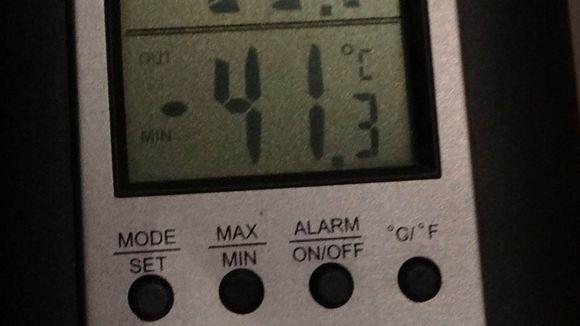 Pakkasmittarissa -41,3 astetta.