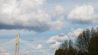 Hornet hävittäjien ylilento Rovaniemellä