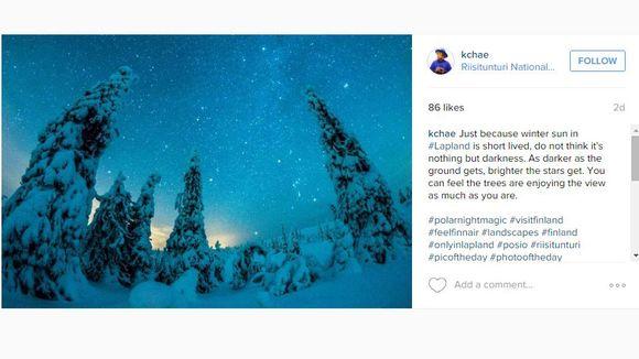 Korealainen valokuvaaja K. Chae kirjoittaa päivityksessään, että kaamos ei ole vain pimeää, vaan myös kirkkaita tähtitaivaita.
