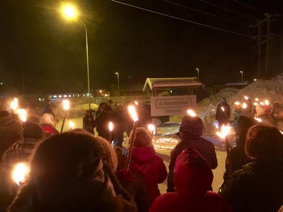 Norjan Kirkkoniemessä osoitettiin mieltä keskiviikkona.