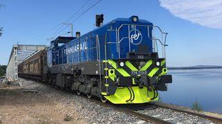 Fenniarailin ensimmäinen yksityinen tavarajuna Kemijärvellä
