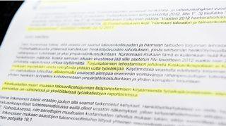 Johtoryhmän kokouksen pöytäkirja vuodelta 2012.