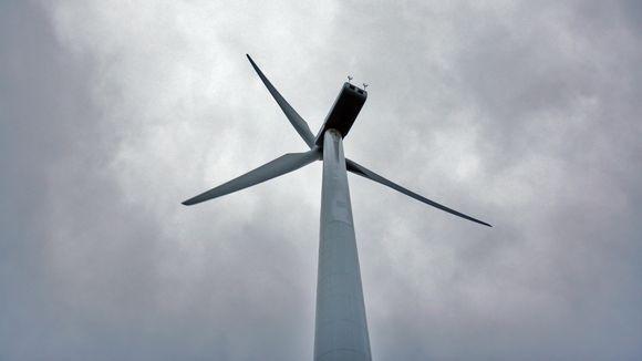Tuulimyllyn lavat taivasta vasten.