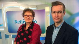 Yle Tampereen Nettistudiossa vieraana kansanedustajat Oras Tynkkynen (Vihr.) ja Leena Rauhala (KD).