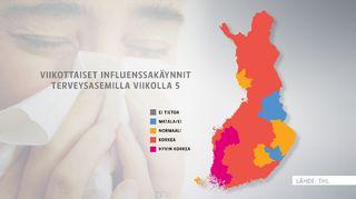 Kuvassa Suomen kartta, jossa epidemian vaivaamat alueet on merkitty eri väreillä