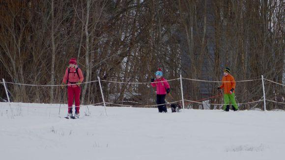 Lapset hiihtävät pellolla Kangasalan Saarikylissä