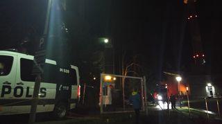 Poliisiauto Särkänniemen delfinaarion edustalle.