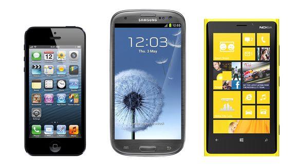 Kuvassa vasemmalta lukien älypuhelimet iPhone, Samsung ja Nokia.