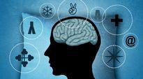 Siluettigrafiikka päästä ja läpileikkauksesta aivoista tyynyllä.
