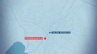 Kartta, jossa on korostettuna Tehdaskatu Salon keskustan tuntumassa.