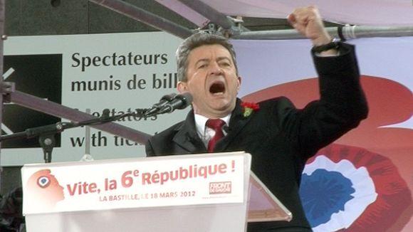 Jean-Luc Mélenchon puhumassa.