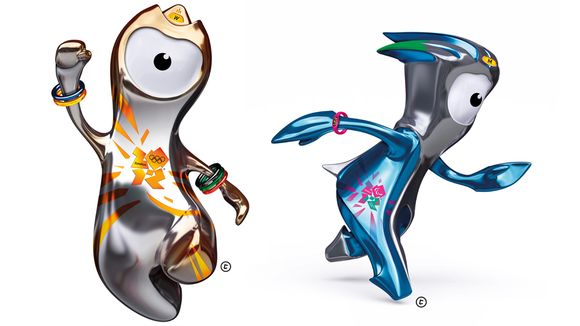 Lontoon olympialaisten maskotit Wenlock ja Mandeville.