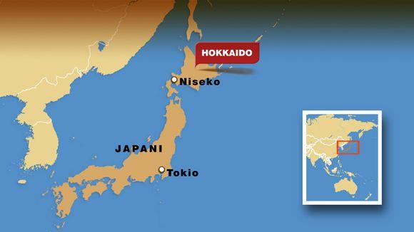 Kartta Hokkaidon sijainnista.