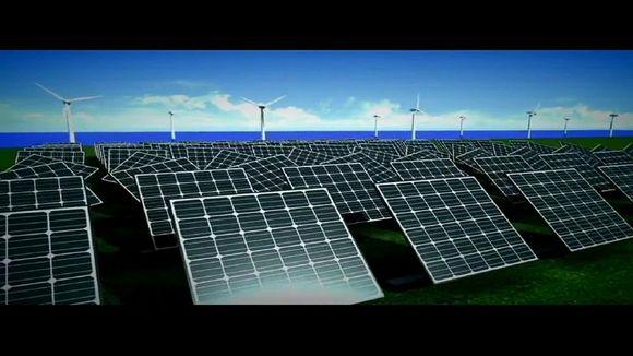 Aurinkopaneeleja ja tuulivoimaloita eteläkorealaisella uusiutuvaa energiaa esittelevällä mainosvideolla.